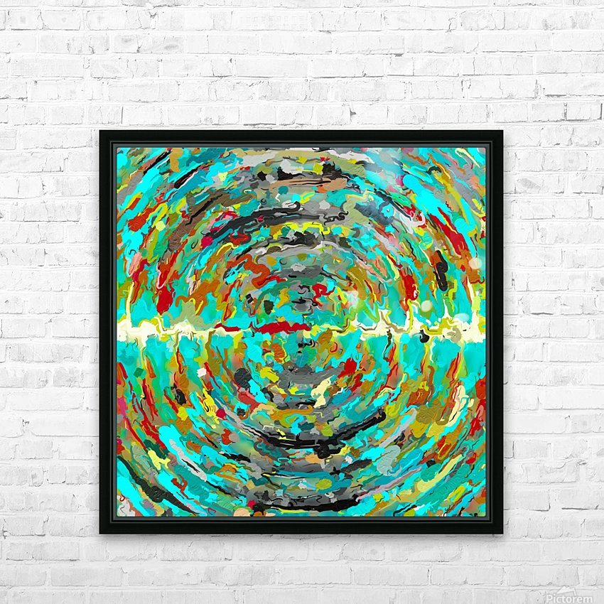 psychedelic circle pattern painting abstract background in green blue yellow brown HD Sublimation Metal print with Decorating Float Frame (BOX)