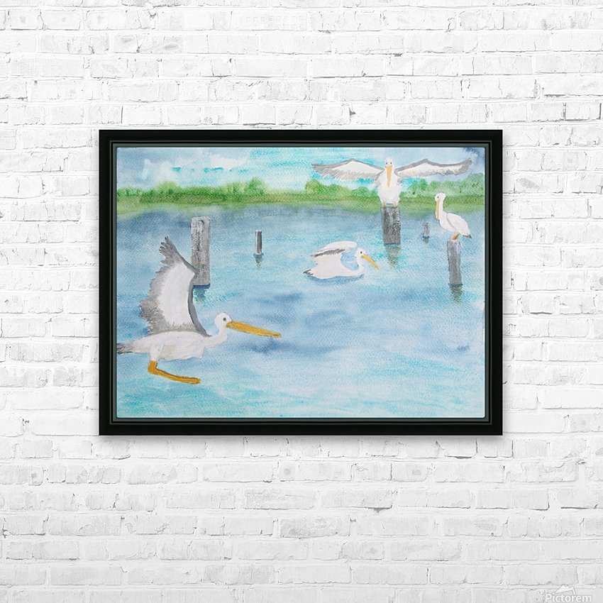 Pelicans in a coastal inlet. HD Sublimation Metal print with Decorating Float Frame (BOX)