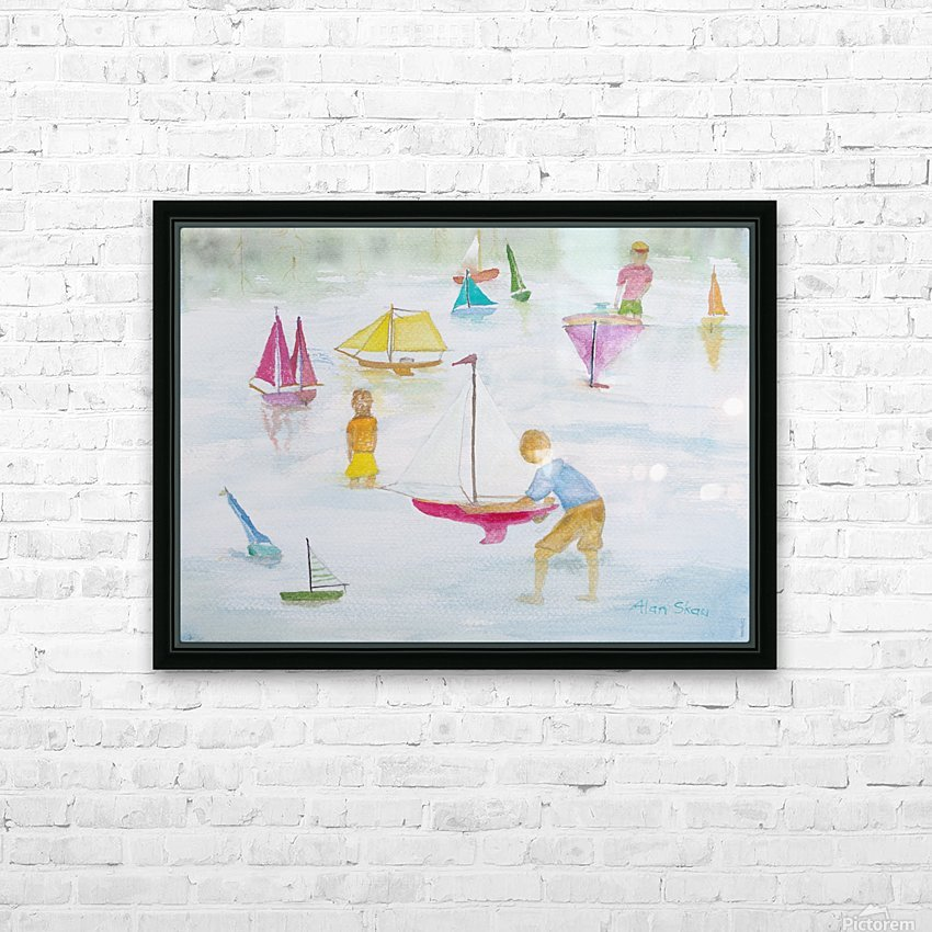 Children playing with sailboats. HD Sublimation Metal print with Decorating Float Frame (BOX)