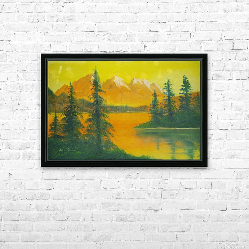 Yellow sky- snow capped mountains. HD Sublimation Metal print with Decorating Float Frame (BOX)