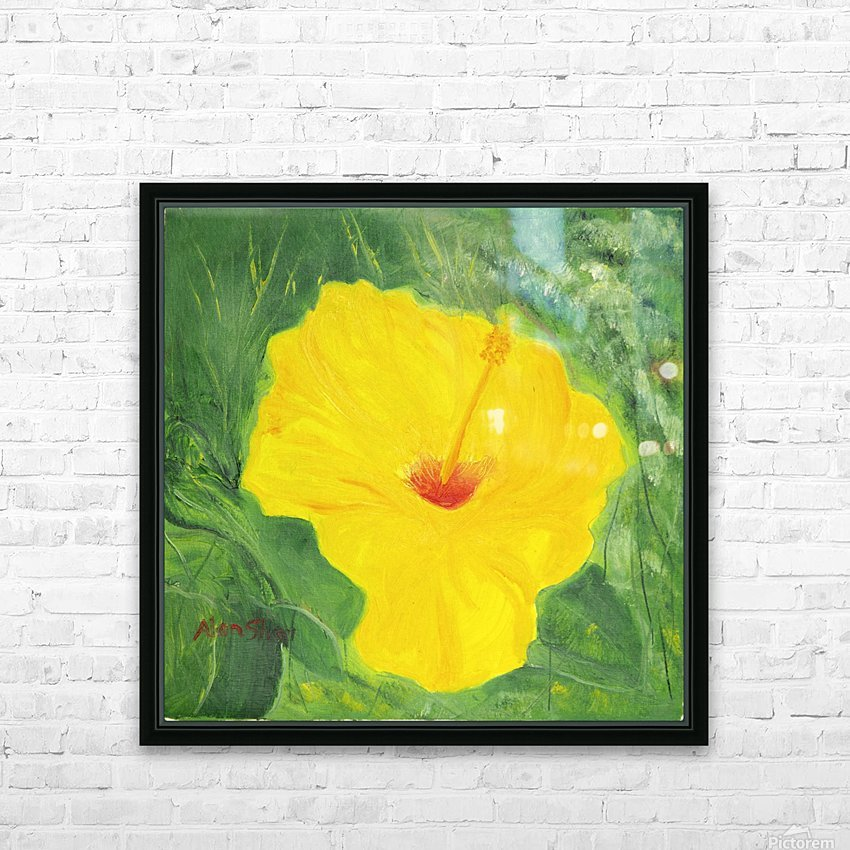 Yellow Hisbiscus Flower. HD Sublimation Metal print with Decorating Float Frame (BOX)
