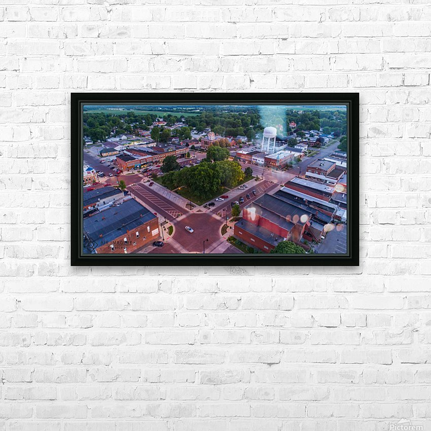 Rushville, IL Square HD Sublimation Metal print with Decorating Float Frame (BOX)