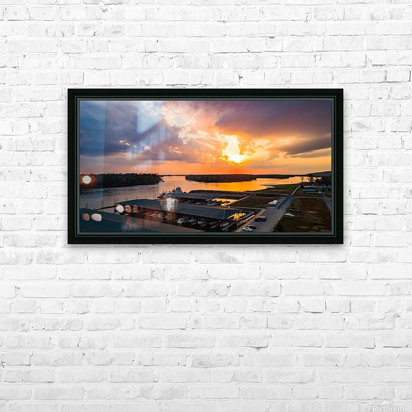 Grafton, IL Sunset HD Sublimation Metal print with Decorating Float Frame (BOX)
