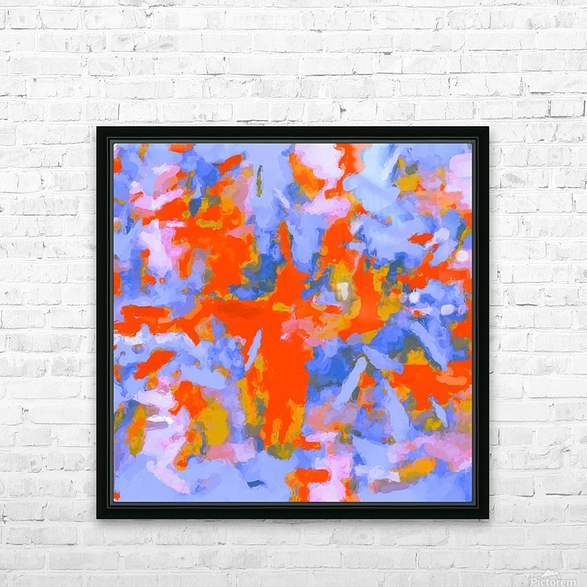 splash painting texture abstract background in red blue orange HD Sublimation Metal print with Decorating Float Frame (BOX)