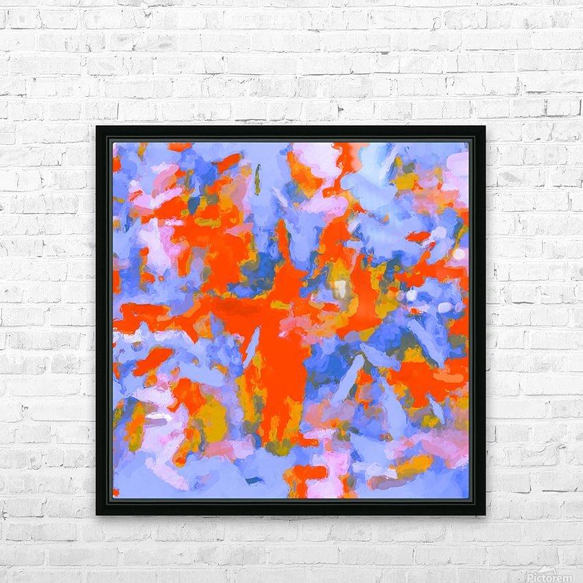 splash painting texture abstract background in red blue orange HD sublimation métal imprimé avec décoration flotteur cadre (boîte)