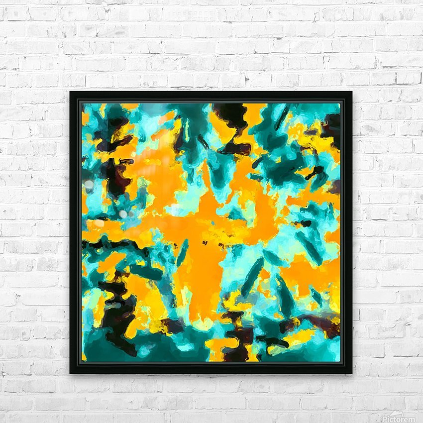 splash painting texture abstract background in green and orange HD Sublimation Metal print with Decorating Float Frame (BOX)
