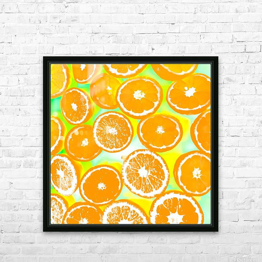 juicy orange pattern abstract with yellow and green background HD Sublimation Metal print with Decorating Float Frame (BOX)