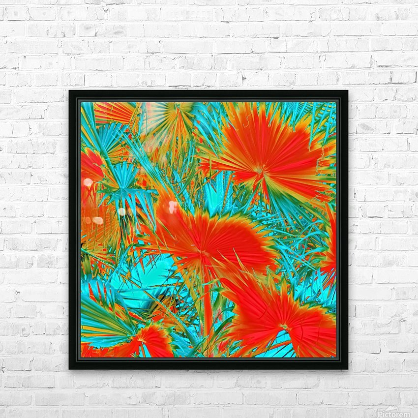 closeup palm leaf texture abstract background in orange blue green HD Sublimation Metal print with Decorating Float Frame (BOX)