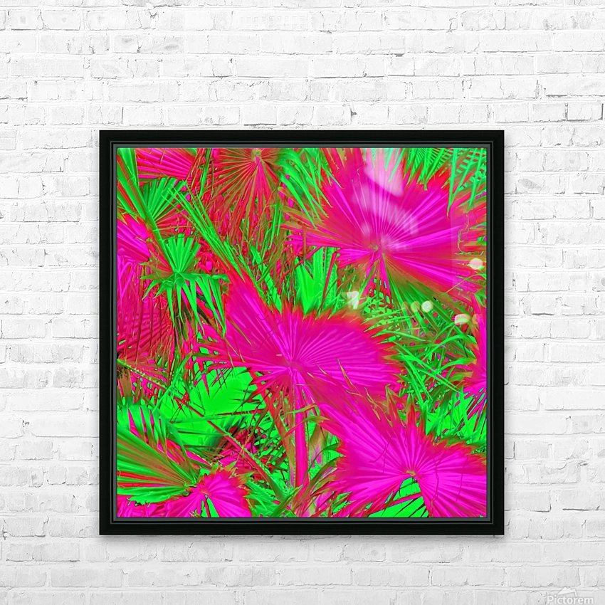 closeup palm leaf texture abstract background in pink and green HD Sublimation Metal print with Decorating Float Frame (BOX)