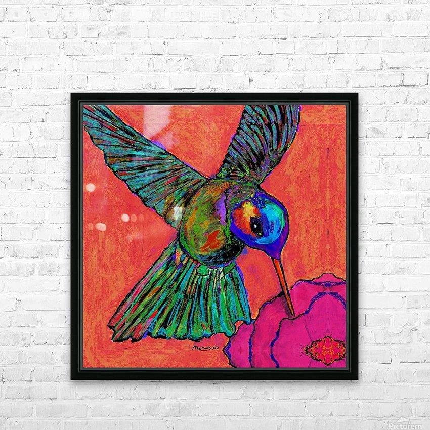 HUMMINGBIRD ON ORANGE HD Sublimation Metal print with Decorating Float Frame (BOX)
