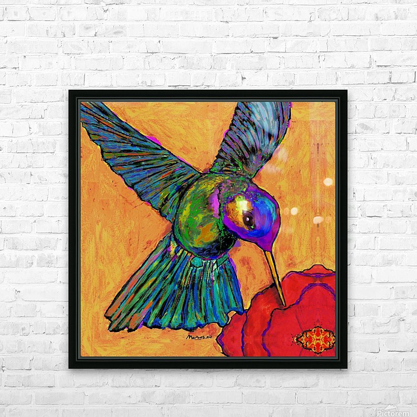 HUMMINGBIRD ON YELLOW HD Sublimation Metal print with Decorating Float Frame (BOX)