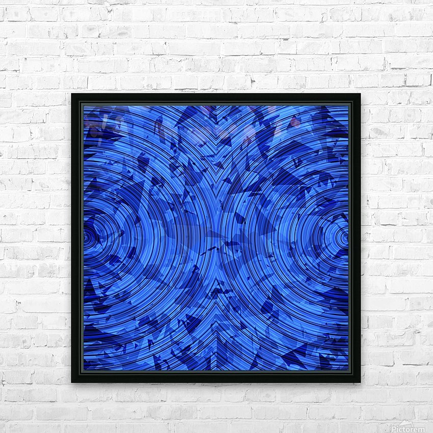 psychedelic geometric circle pattern abstract background in blue HD Sublimation Metal print with Decorating Float Frame (BOX)
