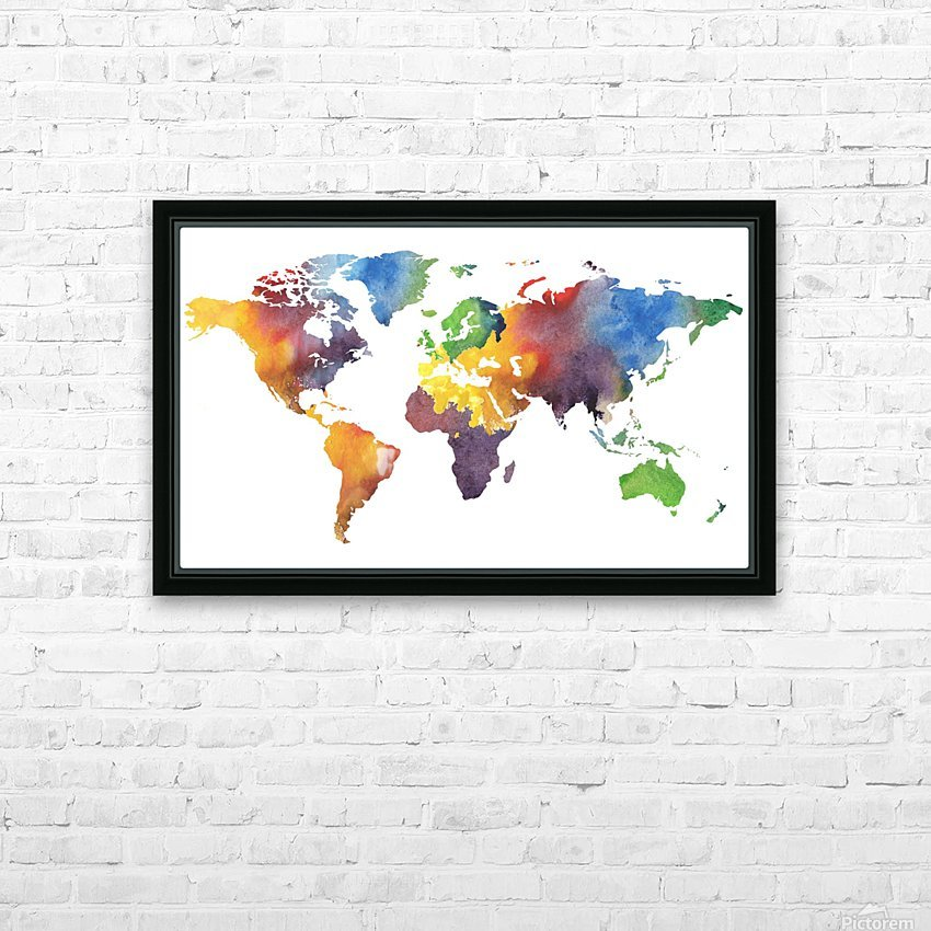 Colorful Map Of The World Watercolor HD Sublimation Metal print with Decorating Float Frame (BOX)