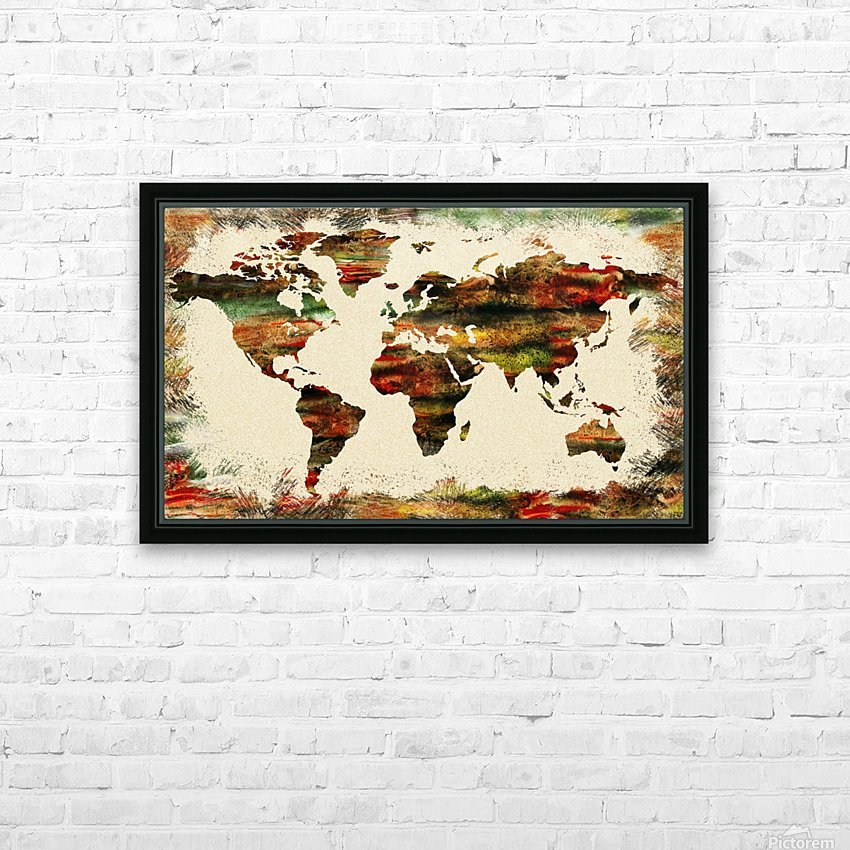 World Map Decorative Painting HD Sublimation Metal print with Decorating Float Frame (BOX)