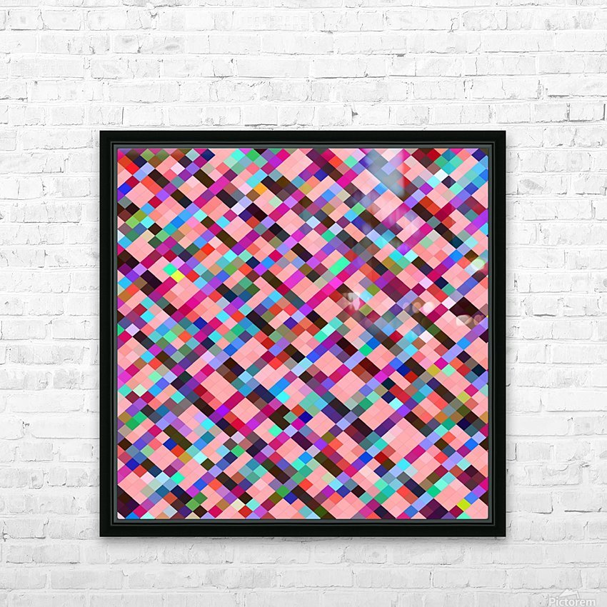 geometric pixel square pattern abstract background in pink purple blue yellow green HD Sublimation Metal print with Decorating Float Frame (BOX)