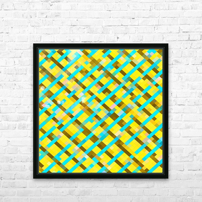 geometric pixel square pattern abstract background in yellow blue brown HD Sublimation Metal print with Decorating Float Frame (BOX)