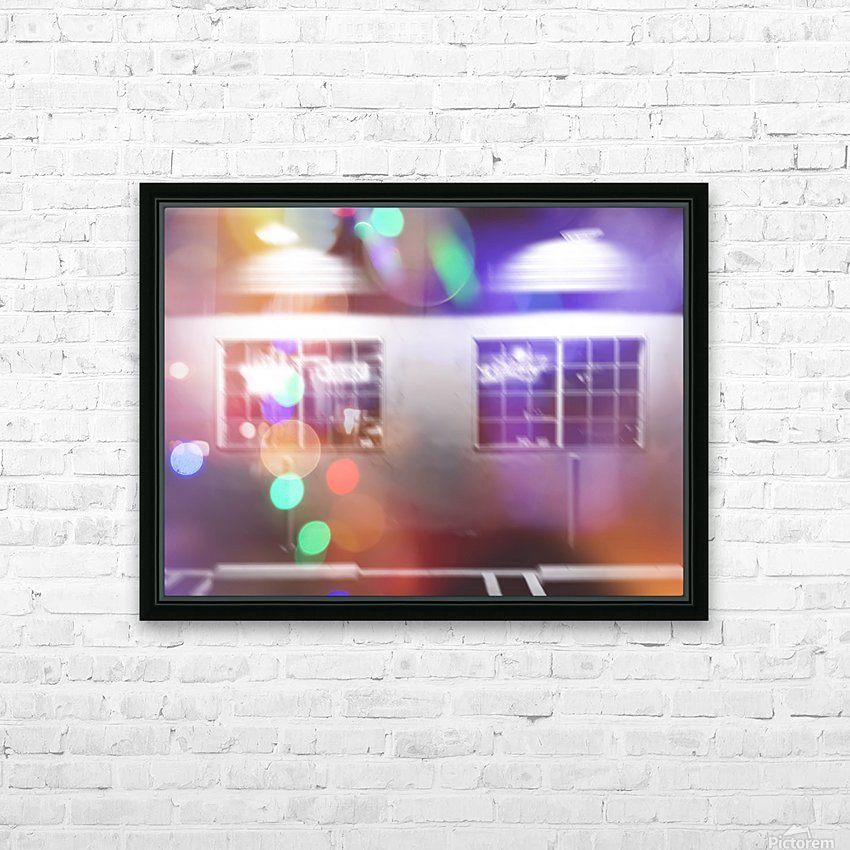 restaurant in the city with the colorful night light bokeh abstract HD Sublimation Metal print with Decorating Float Frame (BOX)