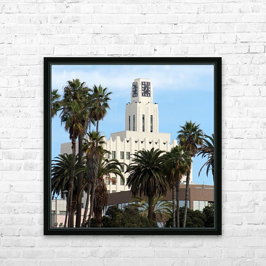 Clock Tower and Palm Trees HD Sublimation Metal print with Decorating Float Frame (BOX)
