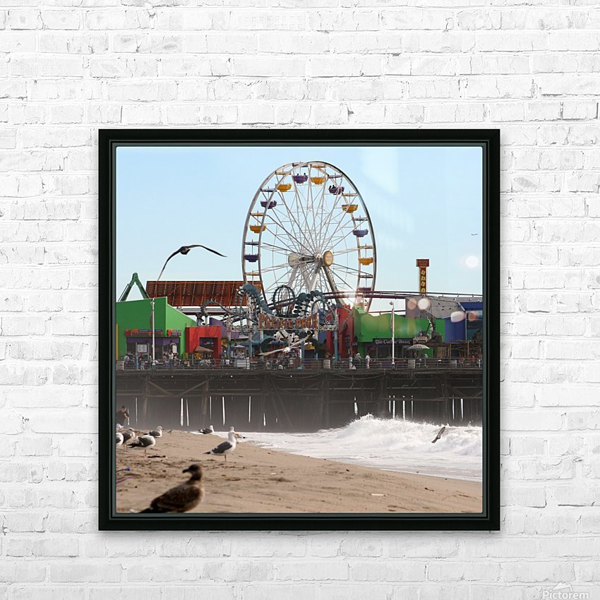 Sea Gulls & Santa Monica Pier HD Sublimation Metal print with Decorating Float Frame (BOX)