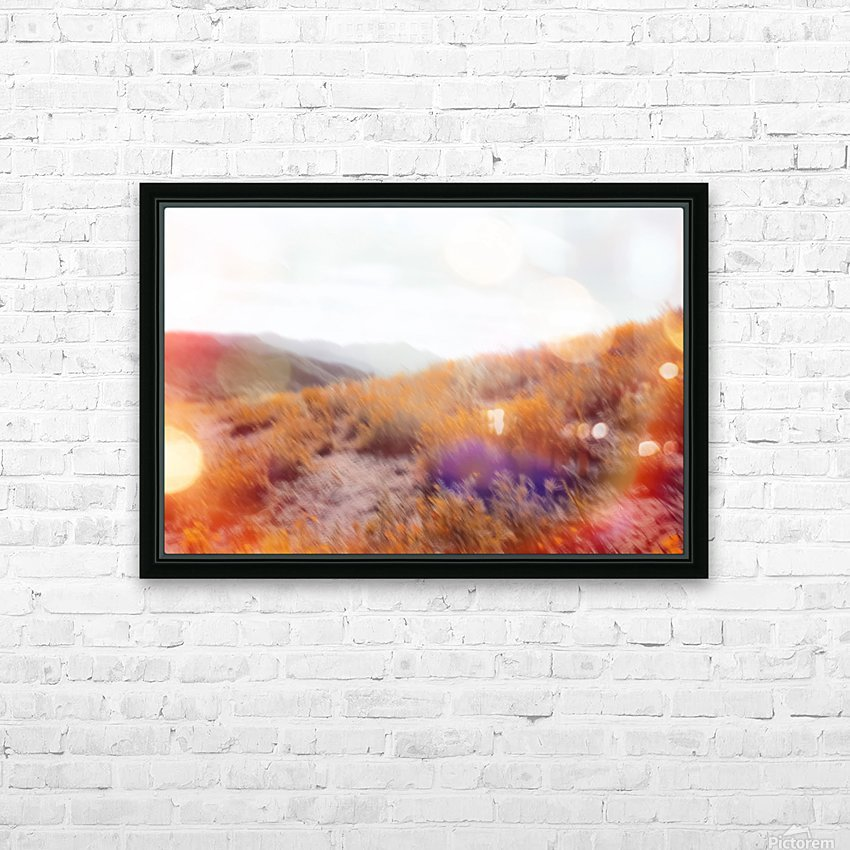 yellow flower field on the mountain with summer light bokeh abstract HD Sublimation Metal print with Decorating Float Frame (BOX)