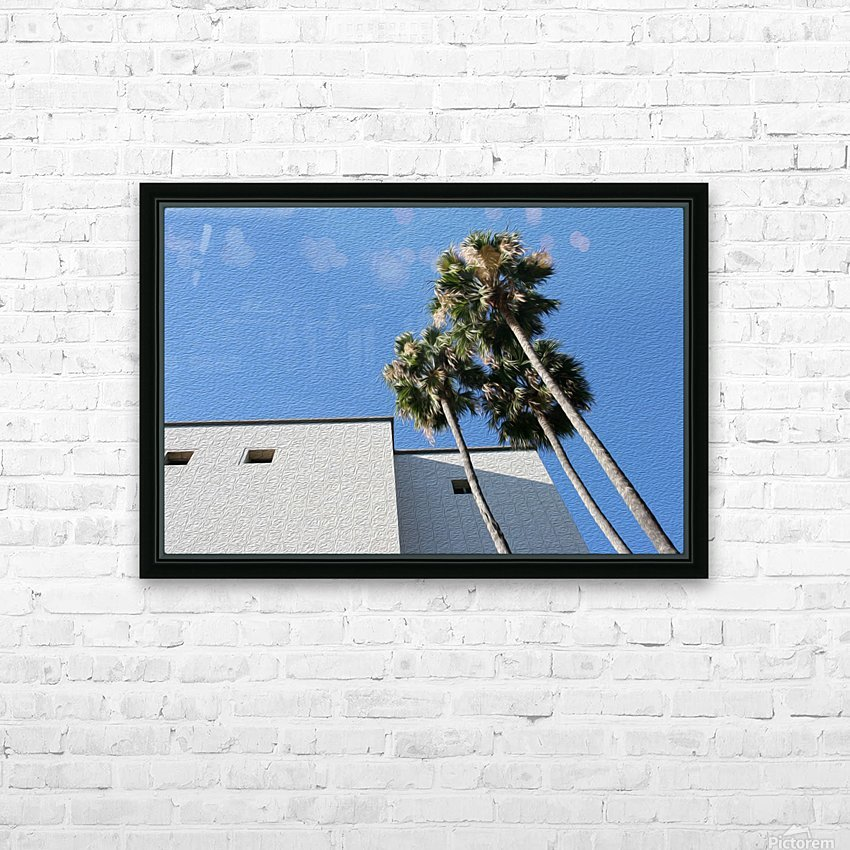 3 Palm Trees Next to Building HD Sublimation Metal print with Decorating Float Frame (BOX)