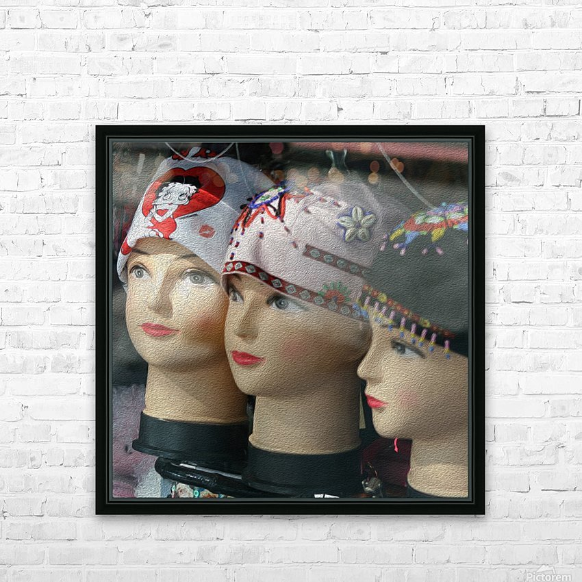 Three Mannequin Heads with Bandanas HD Sublimation Metal print with Decorating Float Frame (BOX)