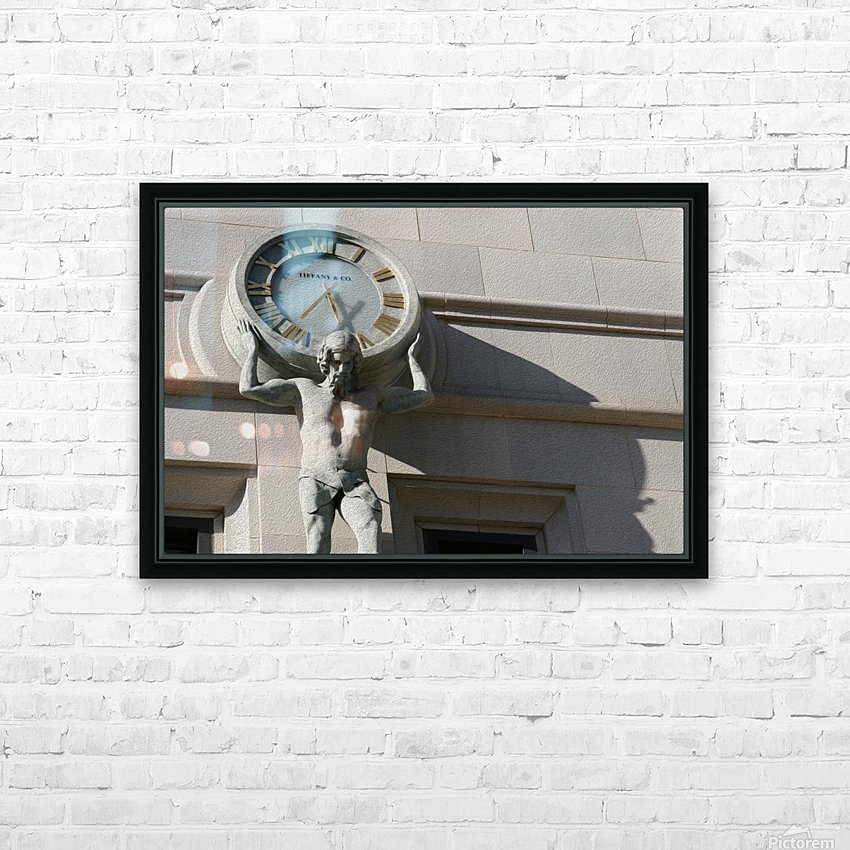 Man Holding Tiffany Clock HD Sublimation Metal print with Decorating Float Frame (BOX)