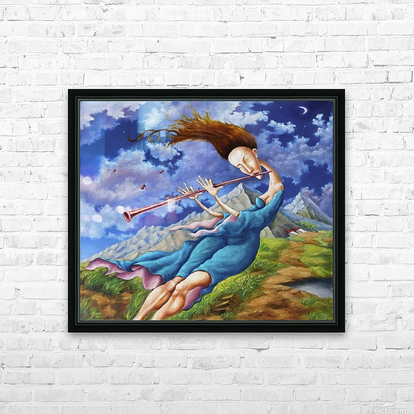 Windy Flutist HD Sublimation Metal print with Decorating Float Frame (BOX)