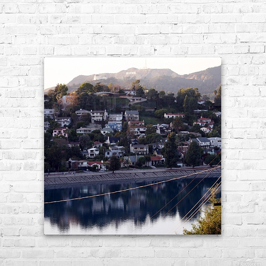 Silver Lake Reservoir with Griffith Observatory HD Sublimation Metal print with Decorating Float Frame (BOX)