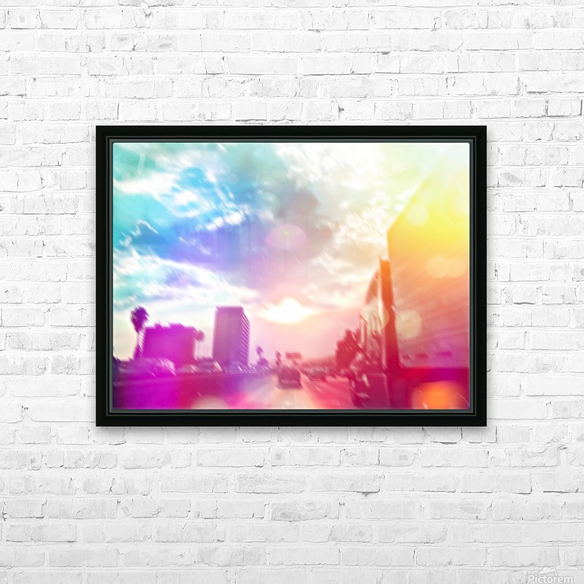 blue cloudy sky on the road with colorful bokeh light abstract HD Sublimation Metal print with Decorating Float Frame (BOX)