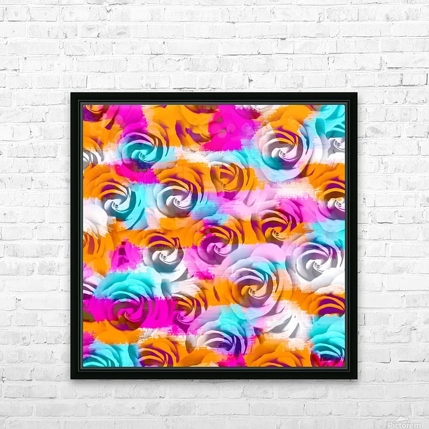 closeup rose texture pattern abstract background in pink orange blue HD Sublimation Metal print with Decorating Float Frame (BOX)