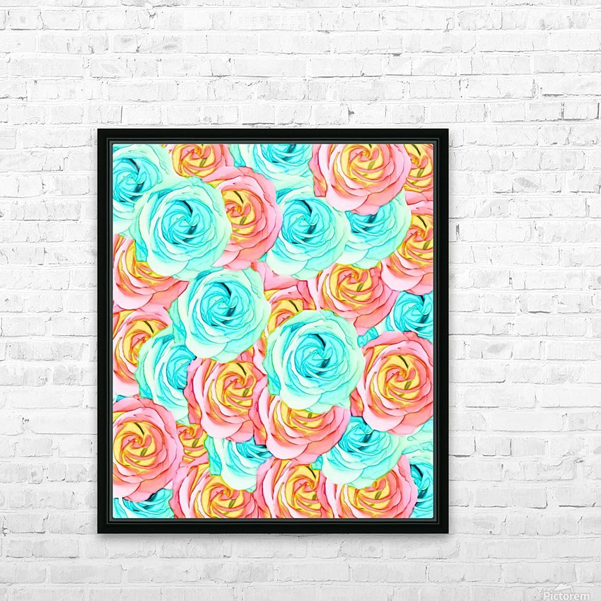 blooming rose texture pattern abstract background in red and blue HD Sublimation Metal print with Decorating Float Frame (BOX)