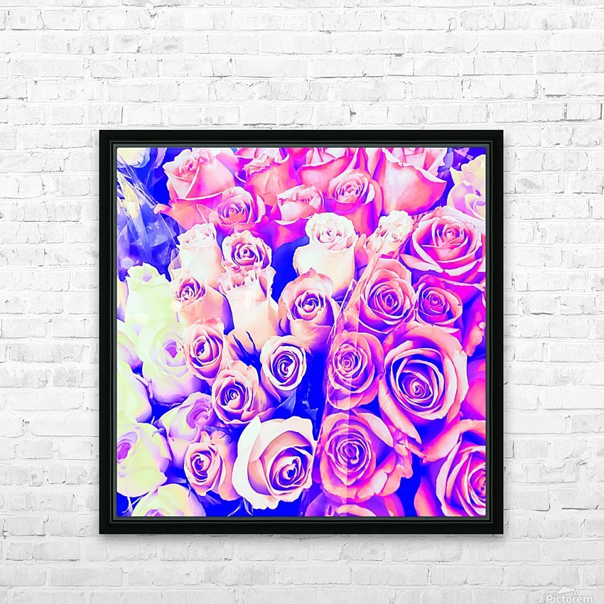bouquet of roses texture pattern abstract in pink and purple HD Sublimation Metal print with Decorating Float Frame (BOX)