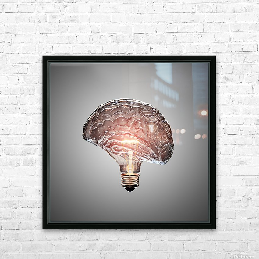 Light Bulb Brain HD Sublimation Metal print with Decorating Float Frame (BOX)