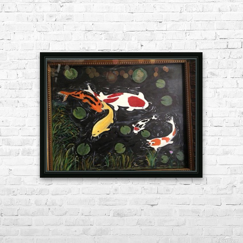 Koi Fish Painting HD Sublimation Metal print with Decorating Float Frame (BOX)