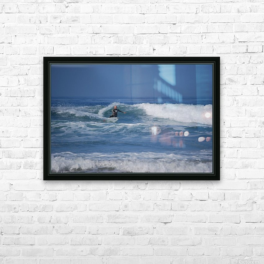 The Lone Surfer HD Sublimation Metal print with Decorating Float Frame (BOX)