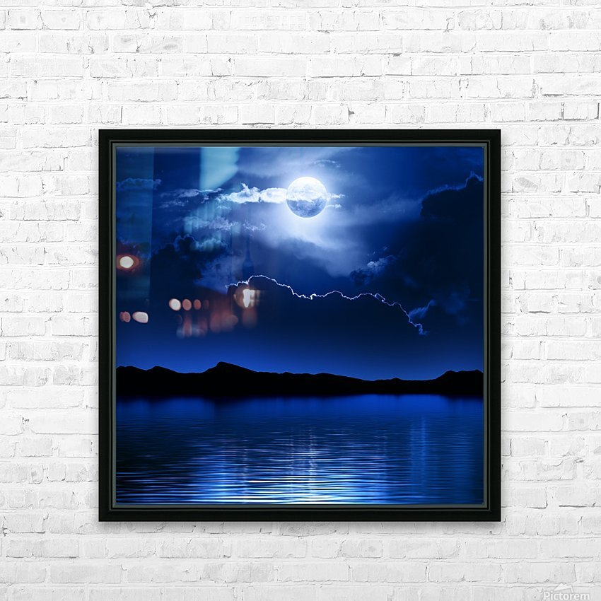 Fantasy Moon and Clouds over water HD Sublimation Metal print with Decorating Float Frame (BOX)