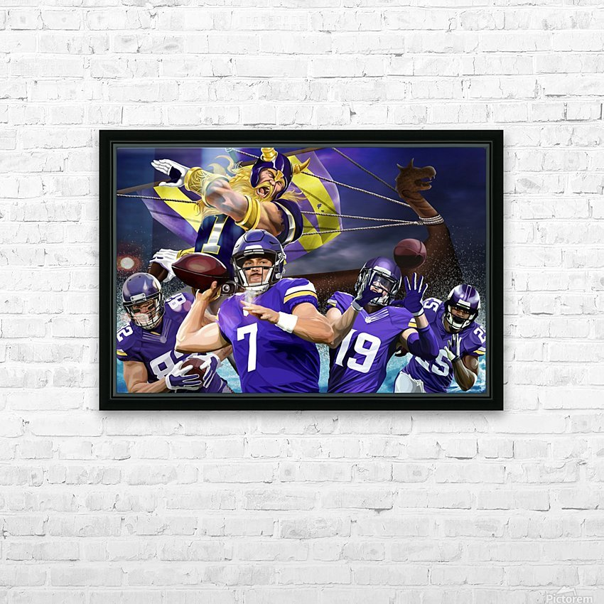 VIKINGS Football HD Sublimation Metal print with Decorating Float Frame (BOX)