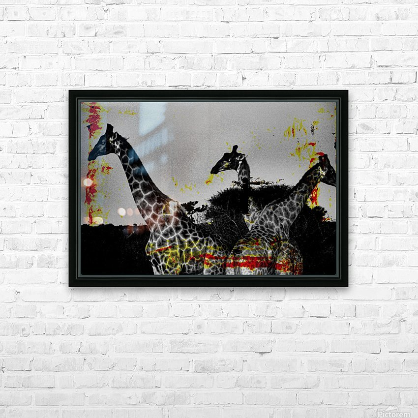 Giraffes Collage HD Sublimation Metal print with Decorating Float Frame (BOX)
