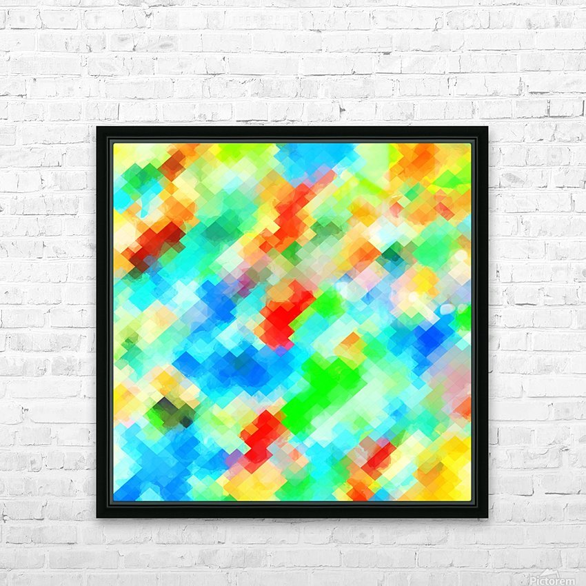 psychedelic geometric pixel abstract pattern in blue green red orange HD Sublimation Metal print with Decorating Float Frame (BOX)