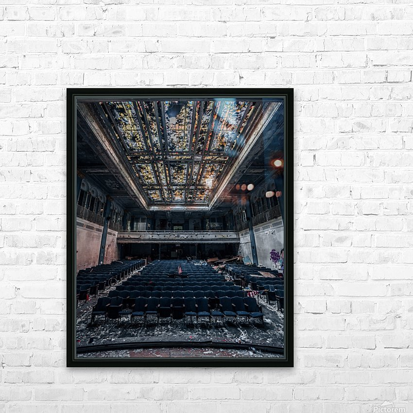 Decaying Blue Auditorium HD Sublimation Metal print with Decorating Float Frame (BOX)