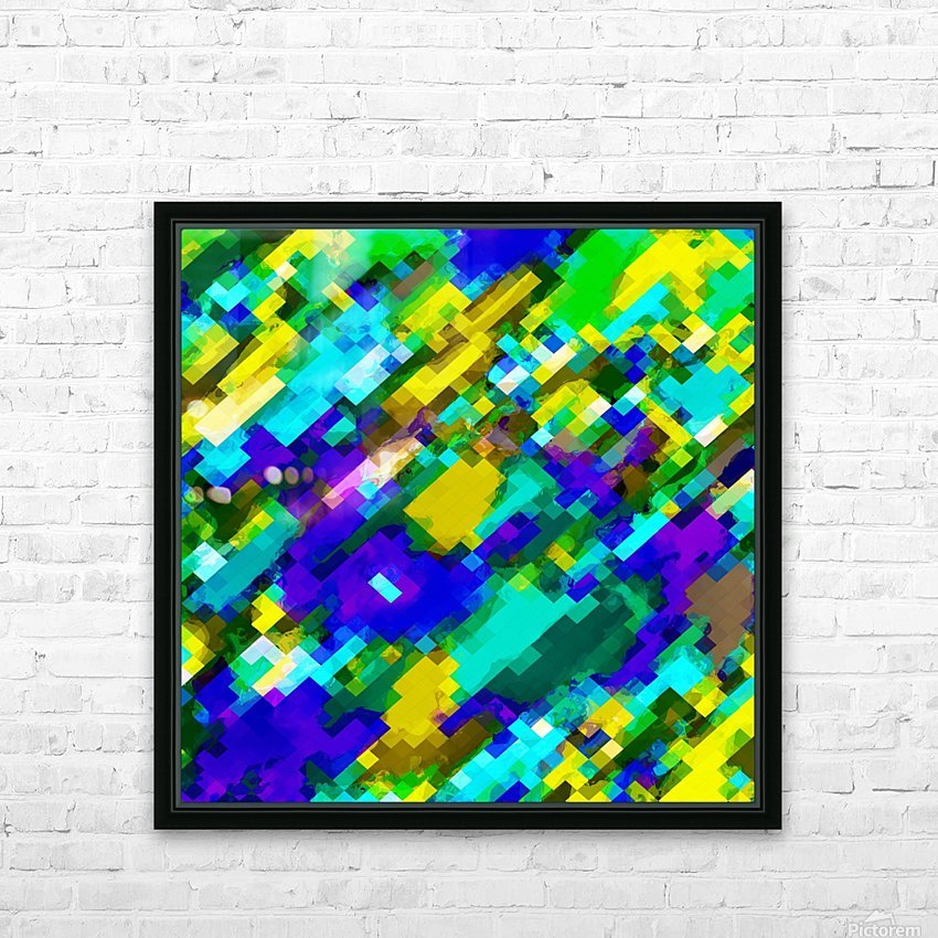 psychedelic geometric square pixel pattern abstract in green yellow blue purple HD Sublimation Metal print with Decorating Float Frame (BOX)