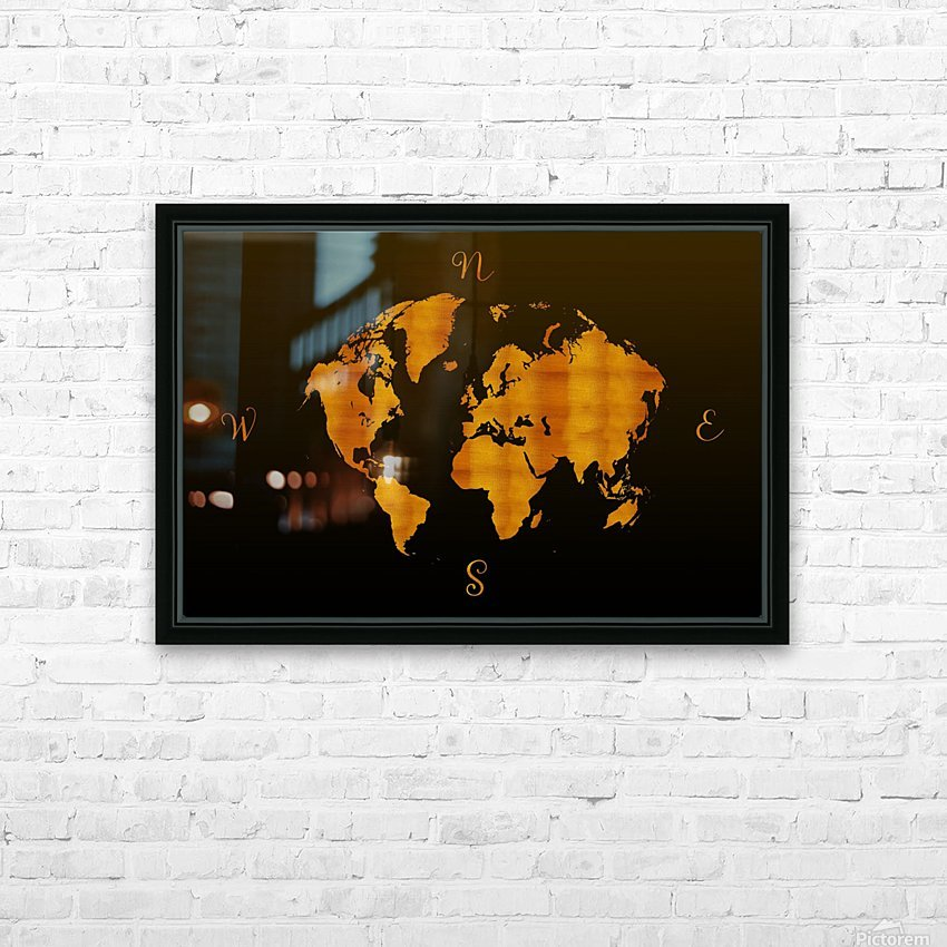 MODERN GRAPHIC ART World Map |  | Redgold HD Sublimation Metal print with Decorating Float Frame (BOX)