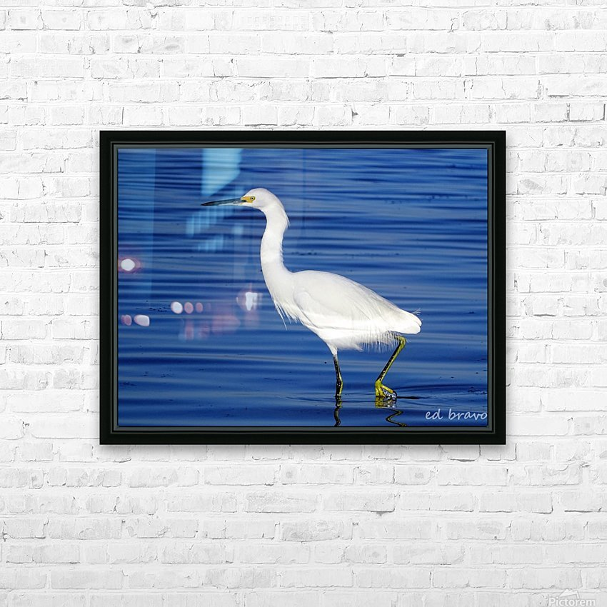 Heron White Walking HD Sublimation Metal print with Decorating Float Frame (BOX)