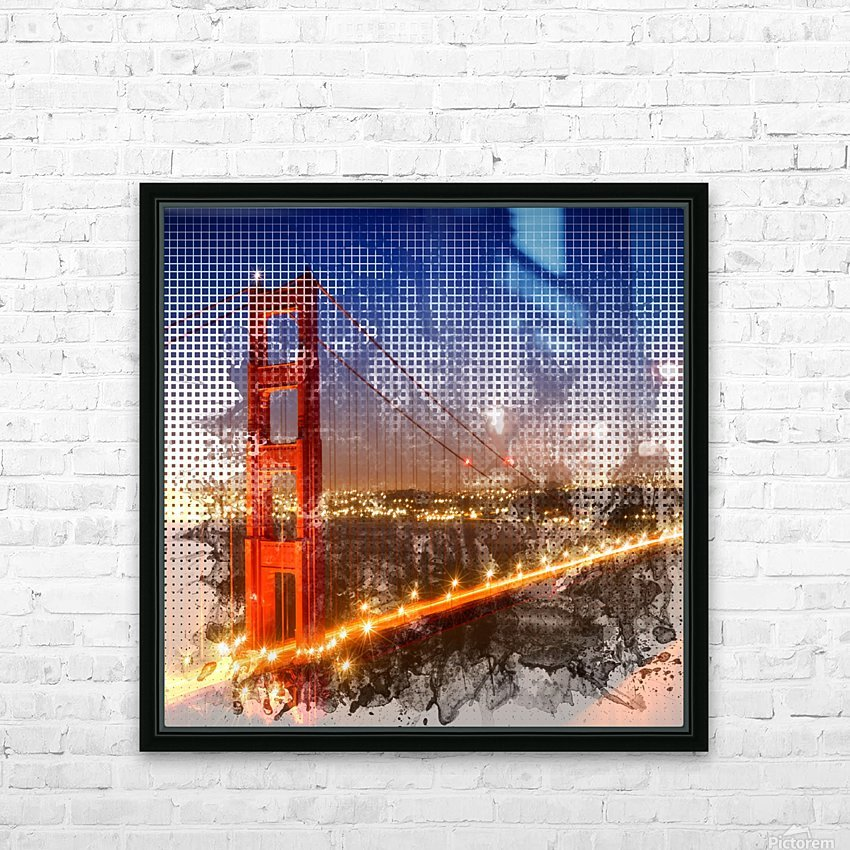 Graphic Art Golden Gate Bridge | watercolour style HD Sublimation Metal print with Decorating Float Frame (BOX)