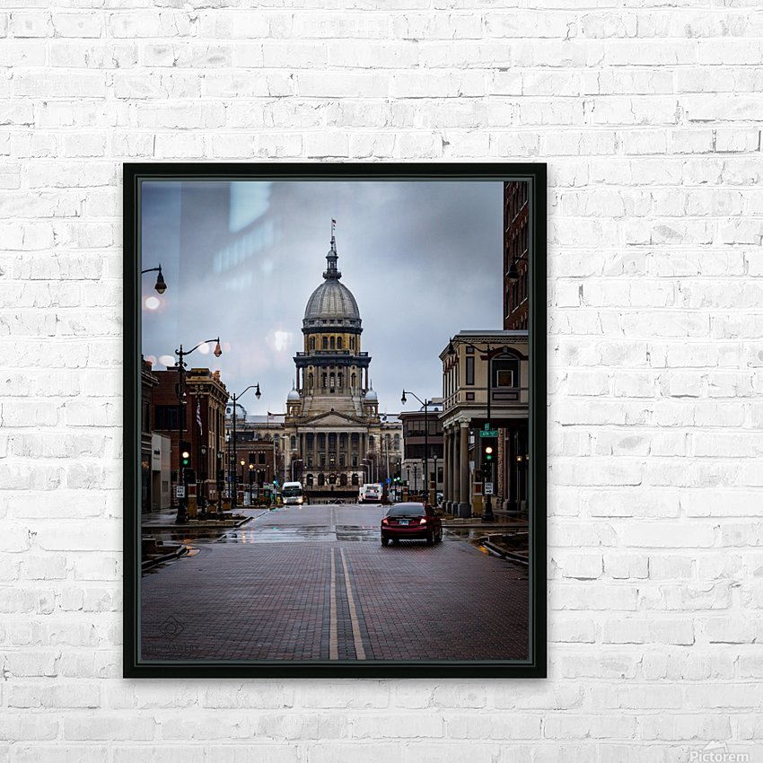 Illinois State Capitol HD Sublimation Metal print with Decorating Float Frame (BOX)