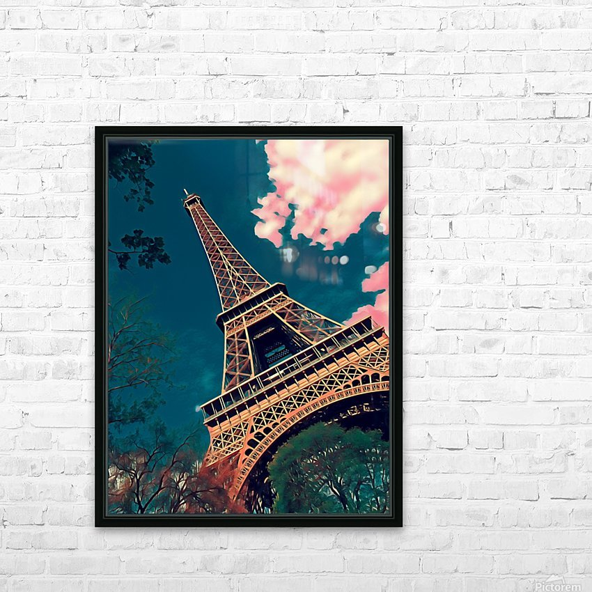 Eiffel Tower- Deep Blue HD Sublimation Metal print with Decorating Float Frame (BOX)