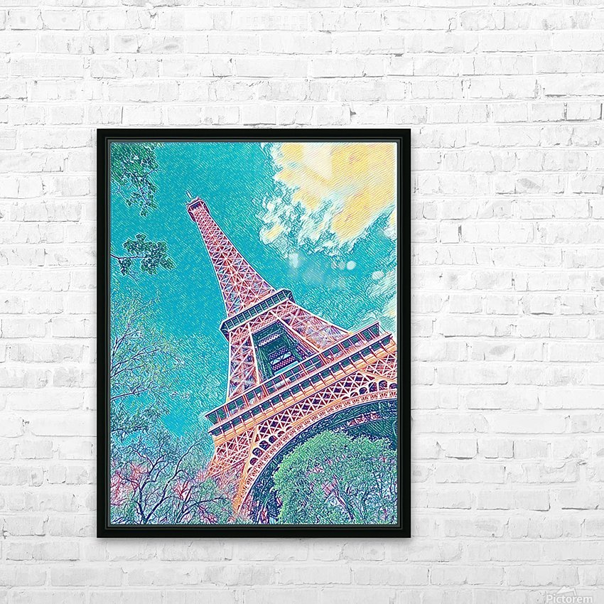 Eiffel Tower- Teal HD Sublimation Metal print with Decorating Float Frame (BOX)