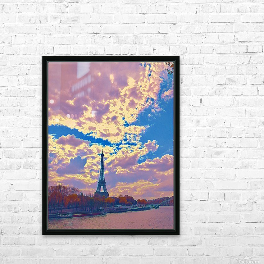 River & Eiffel  HD Sublimation Metal print with Decorating Float Frame (BOX)