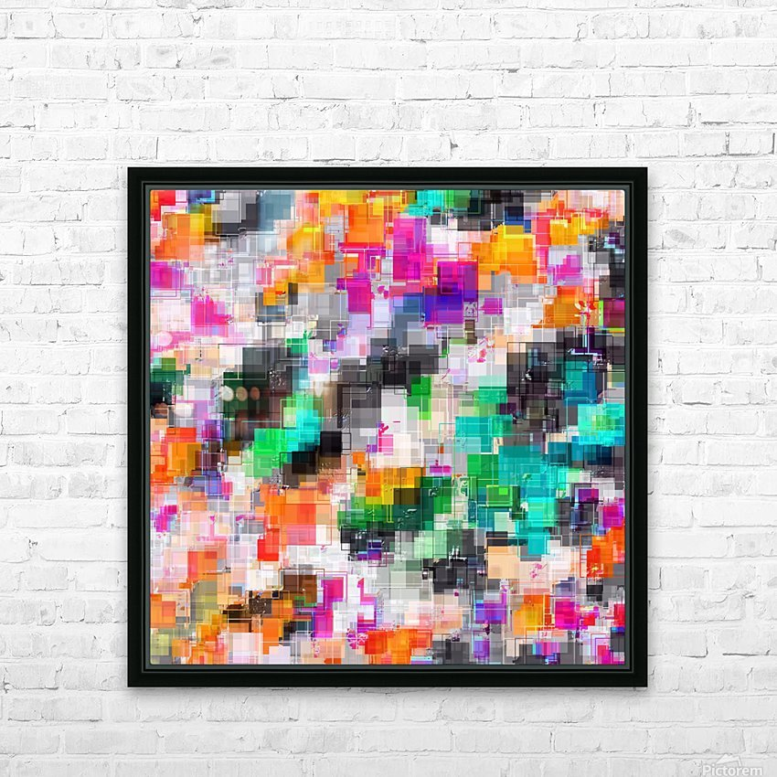 psychedelic geometric square pixel pattern abstract in orange green pink blue HD Sublimation Metal print with Decorating Float Frame (BOX)